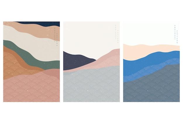 Fond d'art abstrait avec motif de vague japonaise. paysage d'art dans le style tretro. modèle de forêt de montagne.