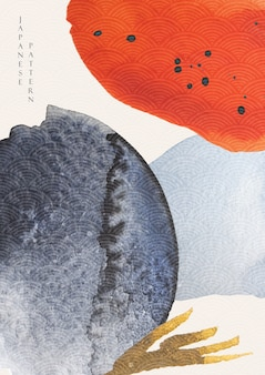 Fond d'art abstrait avec texture aquarelle. modèle de vague japonaise avec illustration de modèle de coup de pinceau dans un style asiatique.