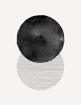 Fond d'art aquarelle abstraite dans un style minimaliste tendance. illustration vectorielle dessinée à la main de formes et de lignes de cercle simples pour les modèles, les affiches, les impressions d'art mural, les couvertures, les histoires de médias sociaux