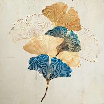 Fond d'art avec des feuilles de ginkgo décoratives dans un style vintage aux couleurs or et turquoise.