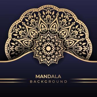 Fond d'art de mandala islamique de luxe dans le style de couleur or