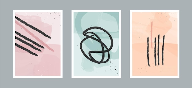 Fond d'art minimaliste de ligne abstraite moderne avec différentes formes pour la décoration murale