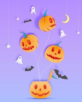 Fond d'art de papier halloween heureux avec illustration vectorielle fantôme