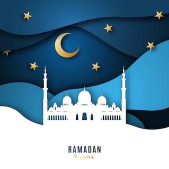Fond d'art de papier ramadan kareem