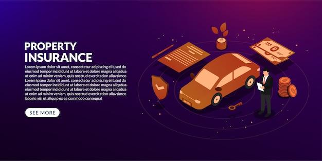Fond d'assurance propriété isométrique, concept de prêt automobile, de loyer et d'hypothèque
