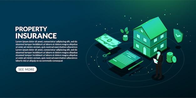Fond d'assurance propriété isométrique, concept de prêt immobilier, de loyer et d'hypothèque