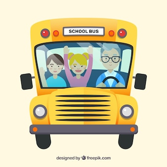 Fond d'autobus scolaire avec des enfants