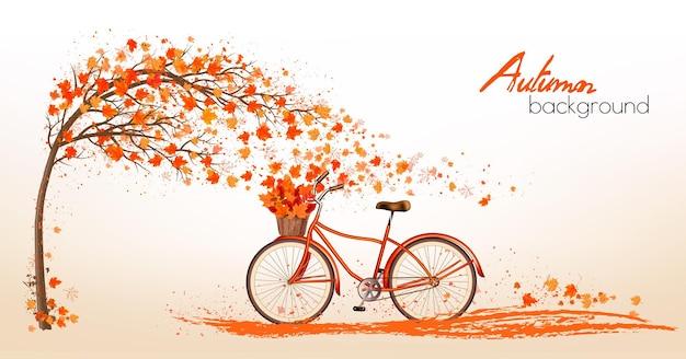 Fond d'automne avec un arbre et des feuilles colorées. vecteur.