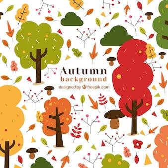 Fond d'automne avec des arbres et des feuilles