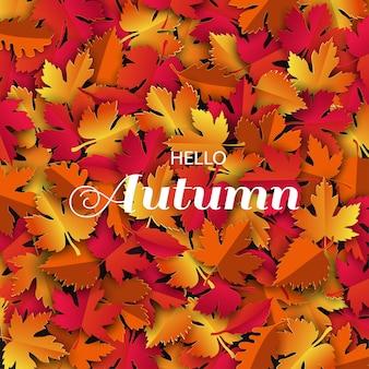 Fond d'automne ou d'automne avec des feuilles colorées pour la promotion du shopping