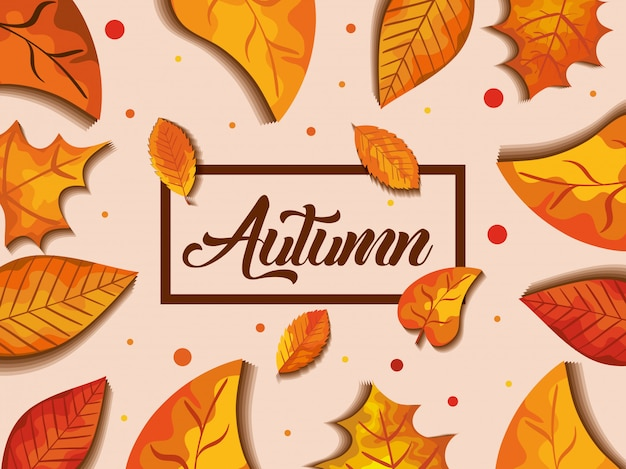 Fond d'automne avec décoration de feuilles