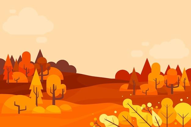 Fond d'automne design plat avec des arbres