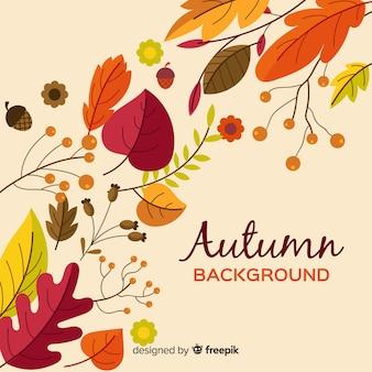 Fond automne design plat avec des feuilles