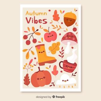 Fond d'automne dessiné avec des feuilles à la main