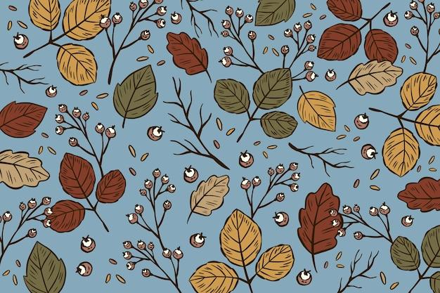 Fond d'automne dessiné à la main avec des feuilles