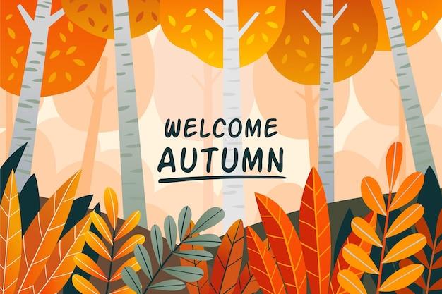 Fond d'automne dessiné à la main avec forêt