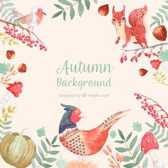 Fond automne dessiné à la main avec la turquie et l'écureuil