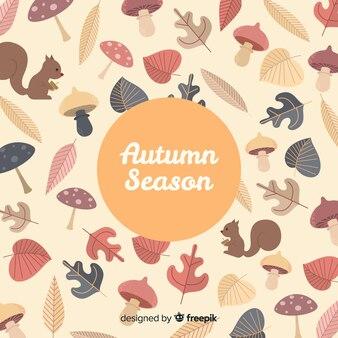 Fond d'automne avec différentes feuilles