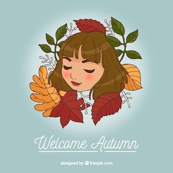 Fond d'automne avec une fille