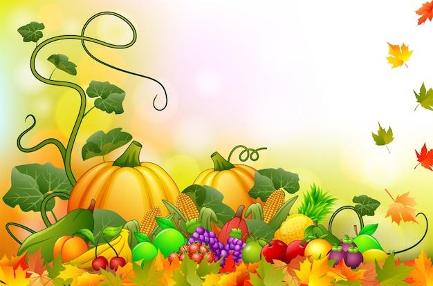 Fond d'automne avec des fruits et légumes frais