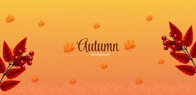 Fond d'automne avec lettrage et feuilles d'automne vecteur premium