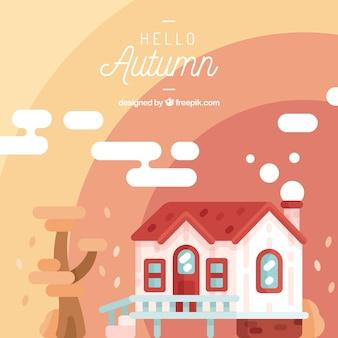 Fond d'automne avec une maison