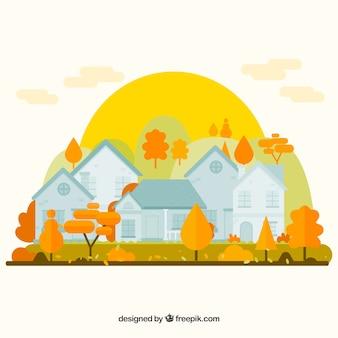 Fond d'automne avec des maisons