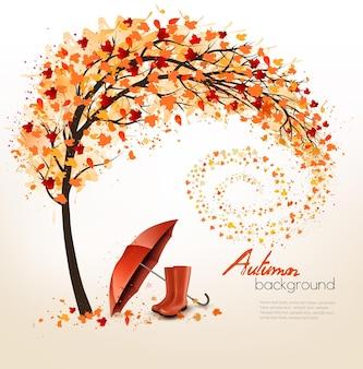 Fond d'automne avec parapluie et bottes de pluie. vecteur.