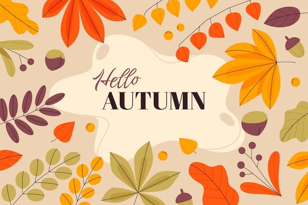 Fond d'automne plat dessiné à la main