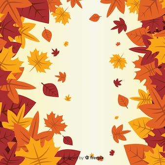 Fond d'automne plat avec des feuilles