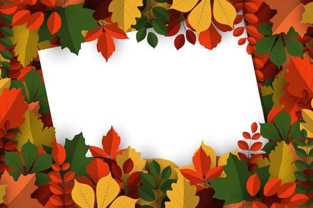 Fond d'automne avec signe de papier vierge