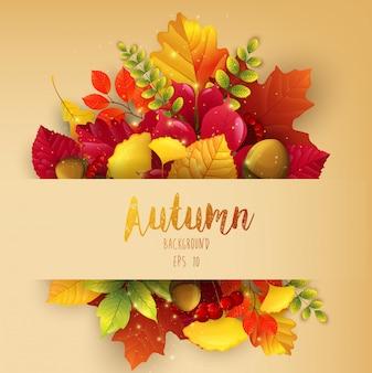 Fond d'automne avec thème feuilles d'automne