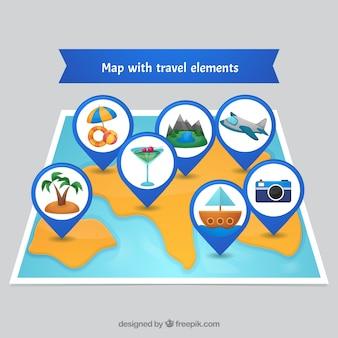 Fond avec des éléments de carte et de voyage