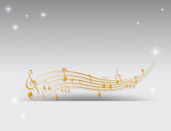 Fond avec des notes de musique dorées