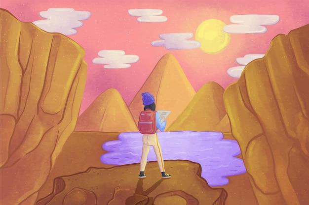 Fond d'aventure aquarelle