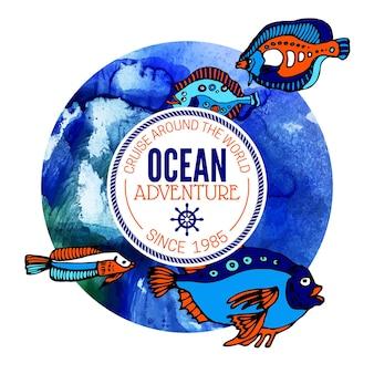 Fond d'aventure océanique. conception nautique de la mer. illustration vectorielle aquarelle dessinés à la main