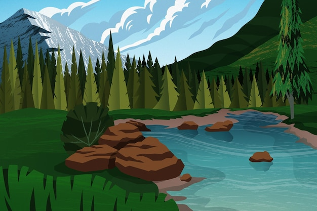 Fond d'aventure plat avec rivière