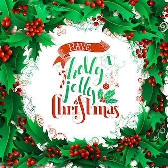 Fond De Baies De Houx Joyeux Noël Vecteur Premium