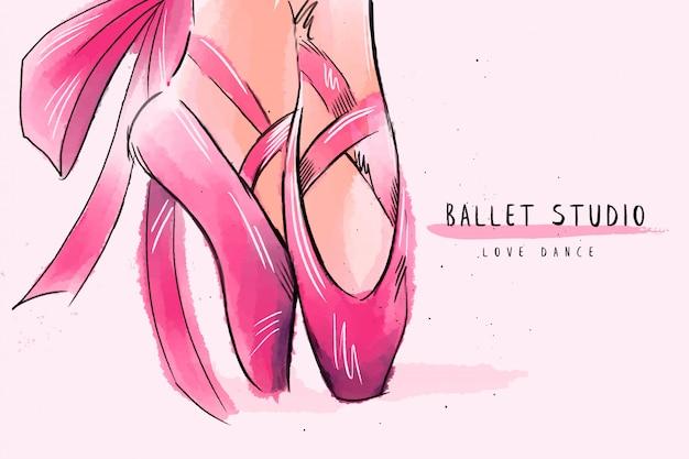 Fond de ballerine de jambe de femme.