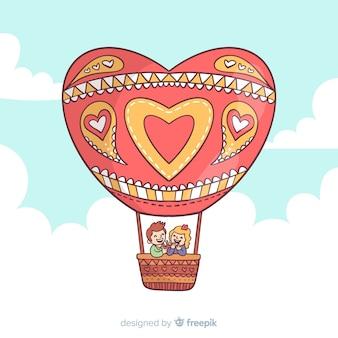 Fond de ballon à air chaud coeur
