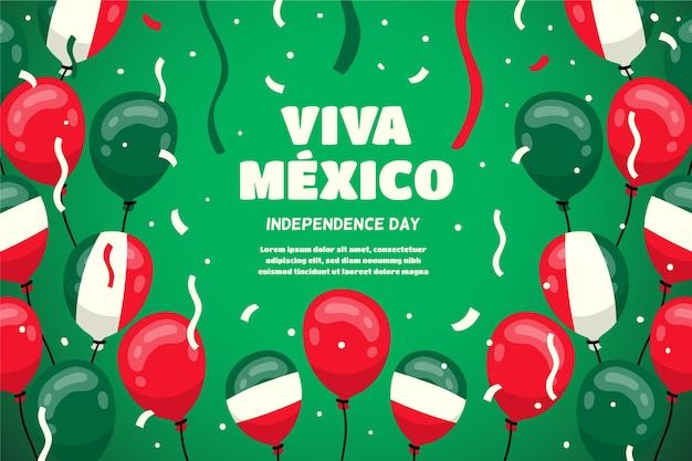 Fond de ballon de fête de l'indépendance du mexique
