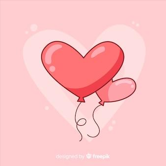 Fond de ballon en forme de coeur
