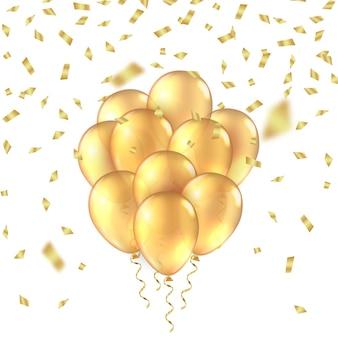 Fond de ballon or ballons d réalistes dorés feuille fond anniversaire maquette de paillettes