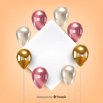 Fond de ballon tridimensionnel brillant avec bannière vierge