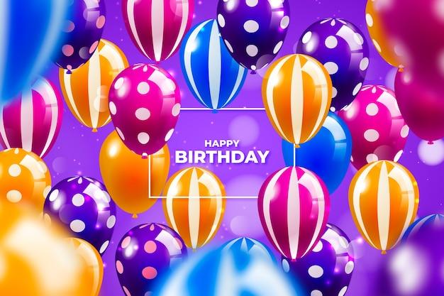 Fond de ballons d'anniversaire coloré réaliste