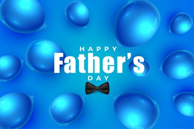 Fond de ballons bleus réalistes de fête des pères heureux