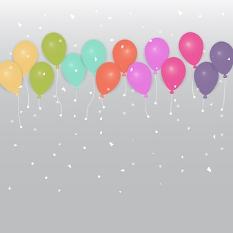 Fond de ballons et confettis de couleur