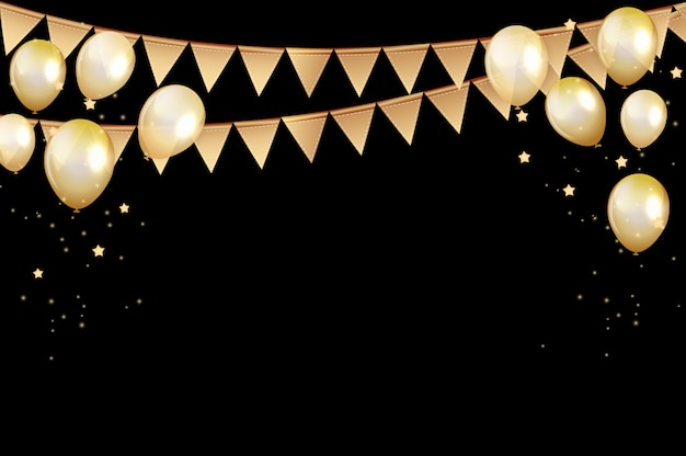 Fond de ballons dorés joyeux anniversaire