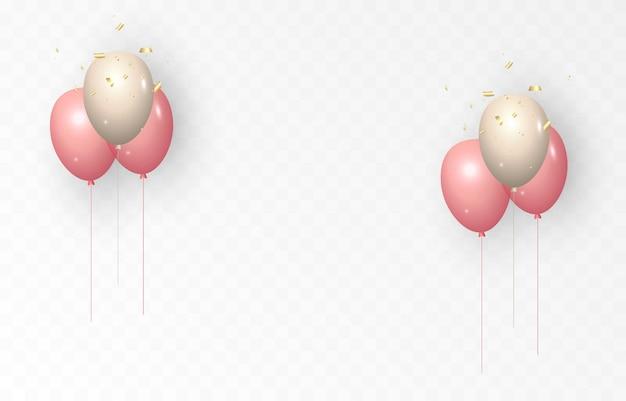 Fond avec des ballons de fête ballons de vecteur parsemés d'étincelles célébration anniversaire confettis clinquant ballons png