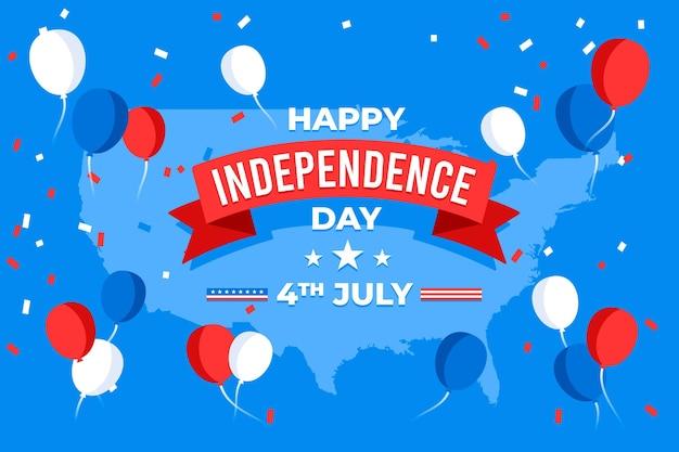 Fond de ballons de fête de l'indépendance avec des confettis